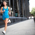 Nike Woman Running on Portland Bridge